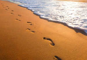 beach__wave_and_footsteps_at_sunset_time_by_macinivnw-d68m4qx
